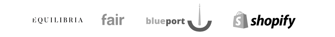 Customer logos: Equilibria, Faire, Blueport, Shopify