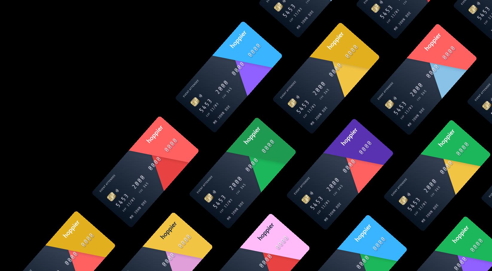 Hoppier cards with different branding for sponsors
