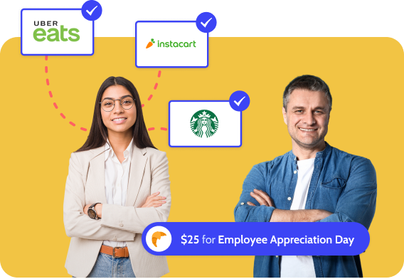 Excited team members with rewards from virtual cards