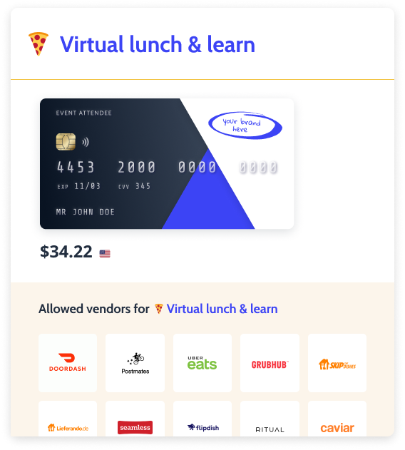 Example of a participants program with vendors and virtual VISA card