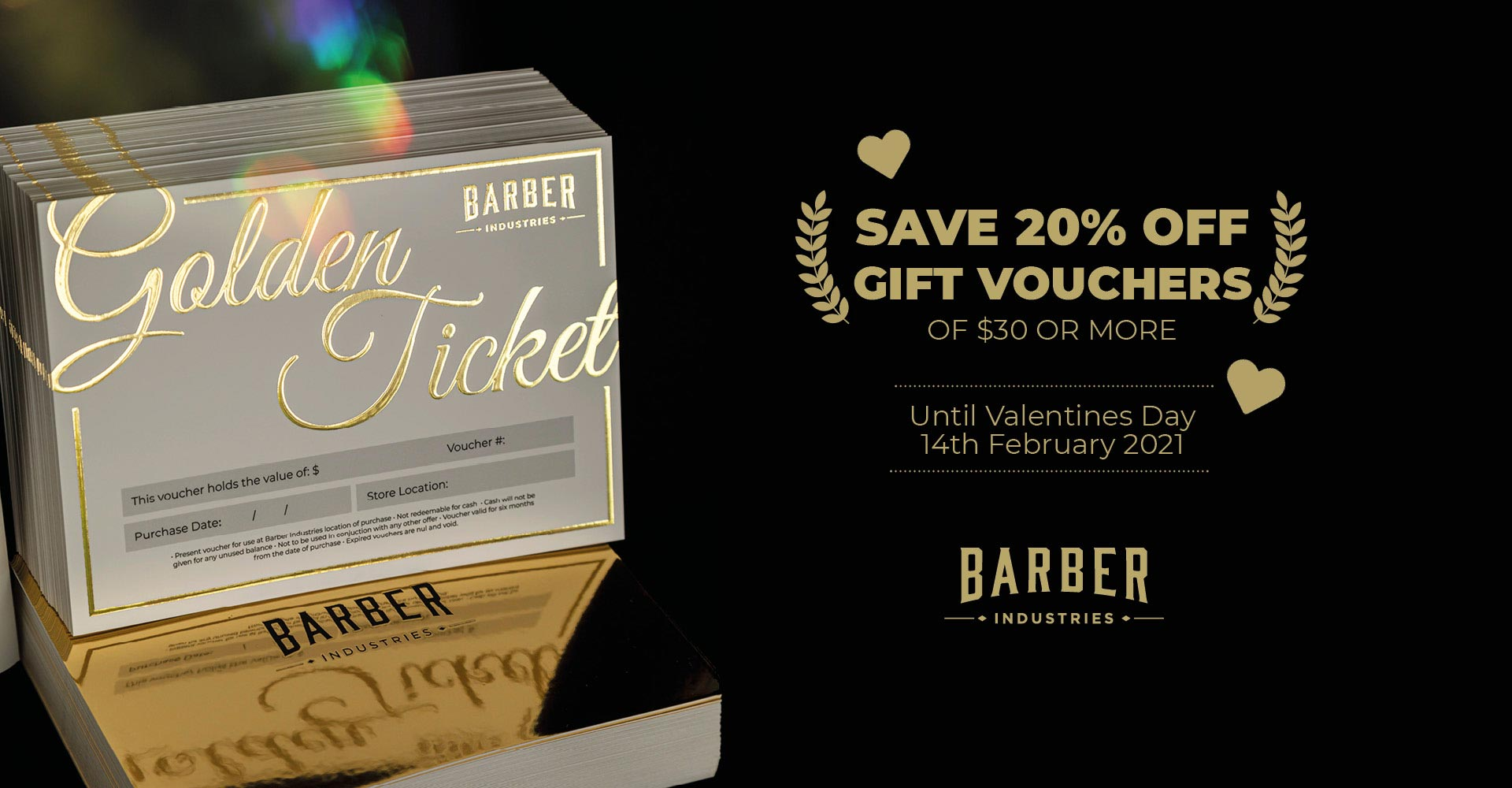 Save 20% on gift vouchers for valentines day