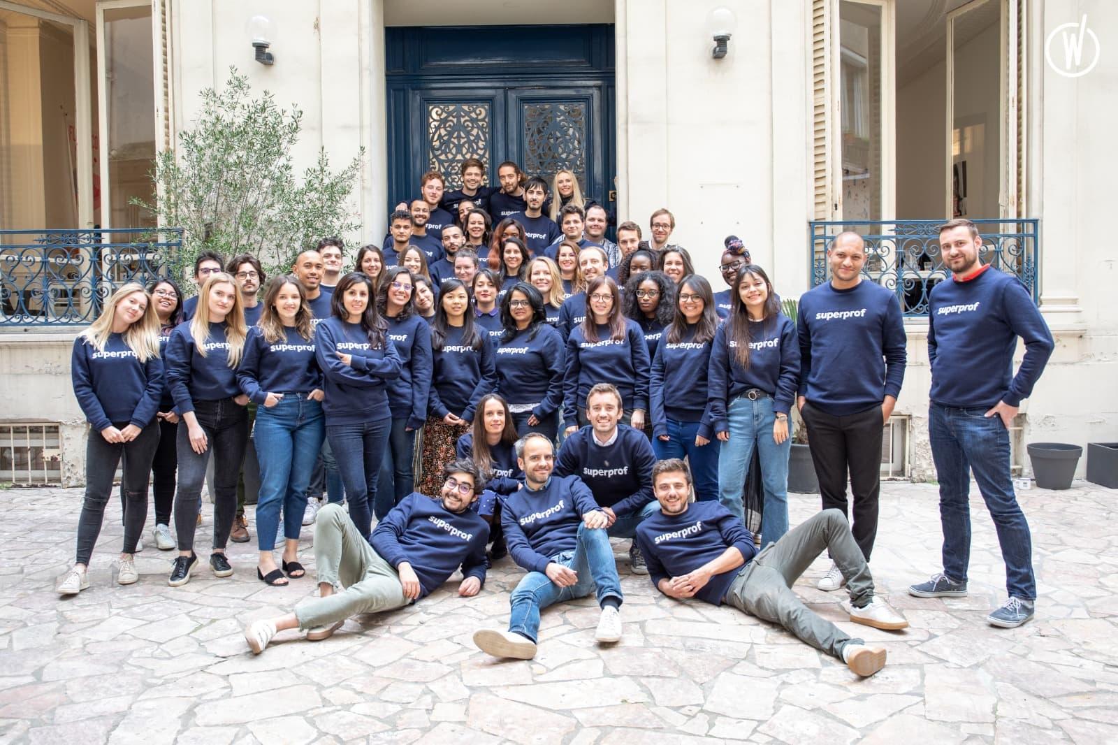 L'équipe de Superprof devant leur bureau à Paris