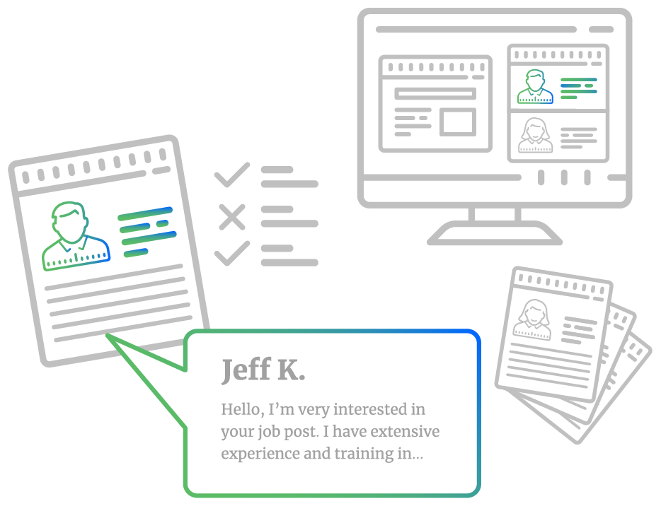 An illustration showing a monitor with freelancer profiles displayed, alongside a zoomed in version showing a freelancer profile with checks to indicate they meet job requirements and a speech bubble of the freelancer introducing themselves.