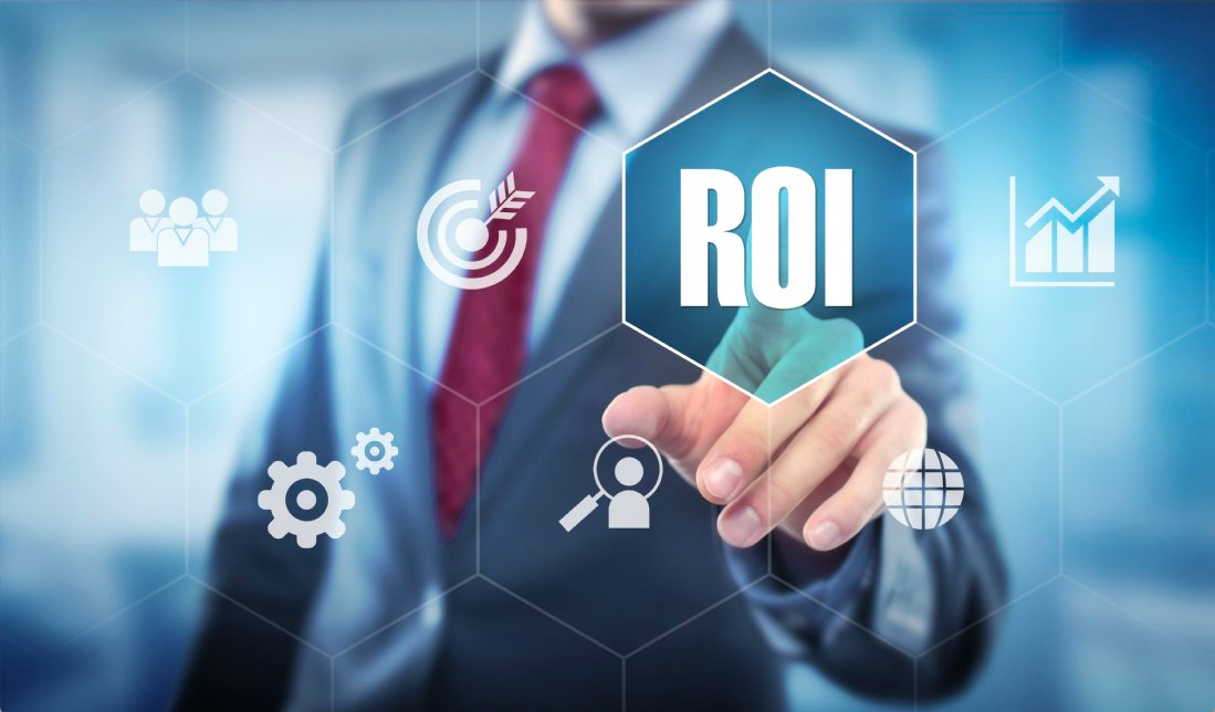 A business person points to the word ROI suggesting that a nimble talent strategy using freelance talent and contract resources helped him boost profitability.