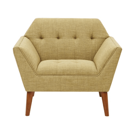 Cushion chair with wooden legs for office decor.
