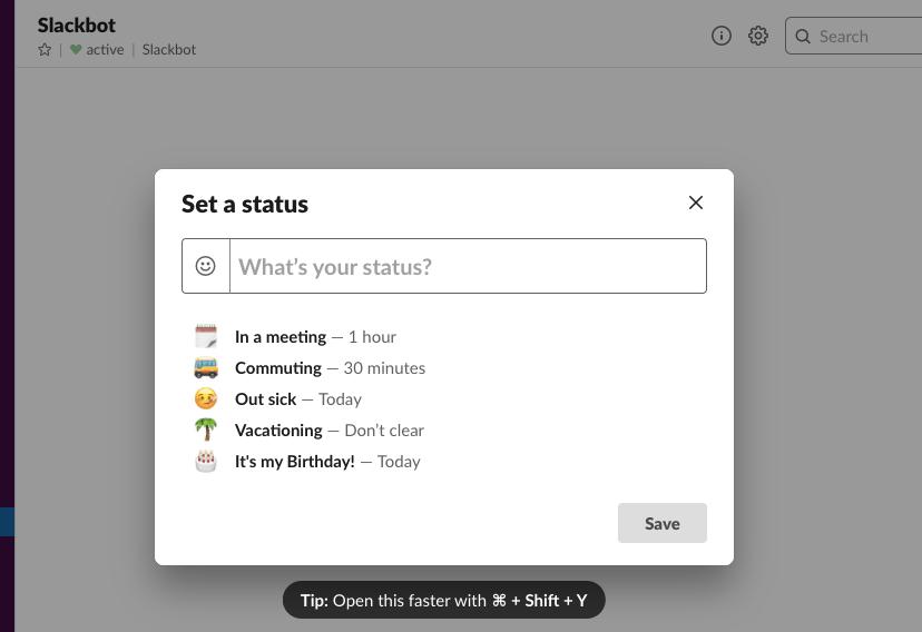 Setting a status in the Slack team communication app