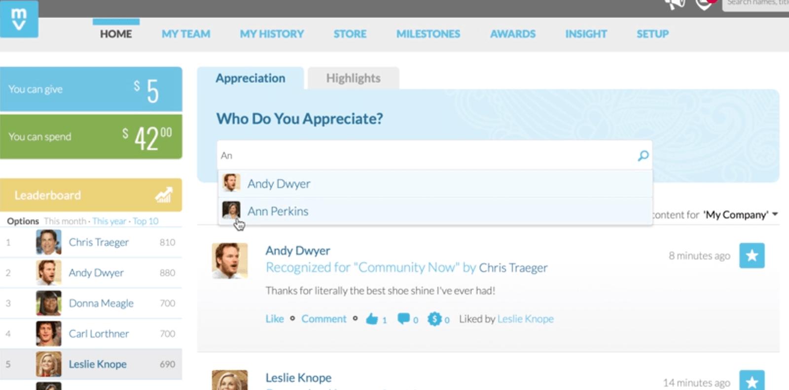 Employee recognition via the Motivosity app