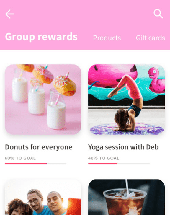 Rewards available on Kazoo employee engagement app including donuts for everyone and yoga sessions