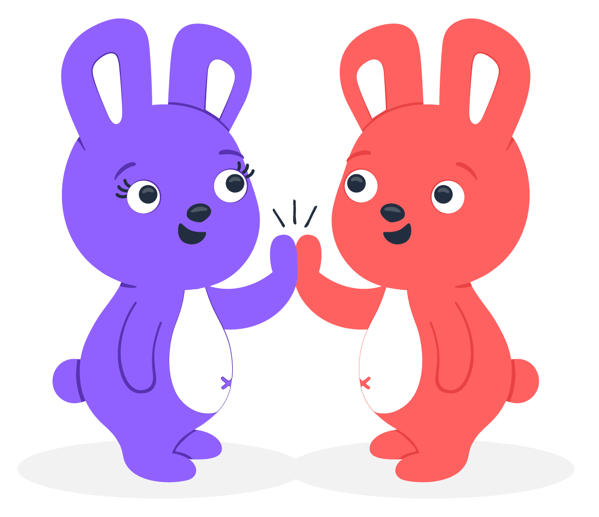 Two Hoppy bunnies high-fiving each other to show employee appreciation one-on-one
