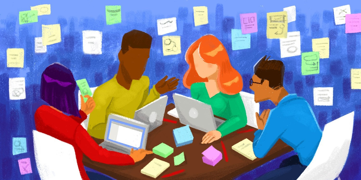 An illustrated team of four people sitting at a desk with laptops and sticky notes