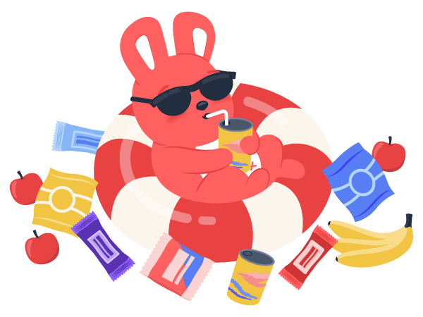 Hoppy bunny floating in a pool of snacks and drinking a juice to show how snacks drive employee engagement.