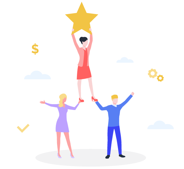 Two illustrated people holding up a third person who's holding a star to show the impact of employee engagement