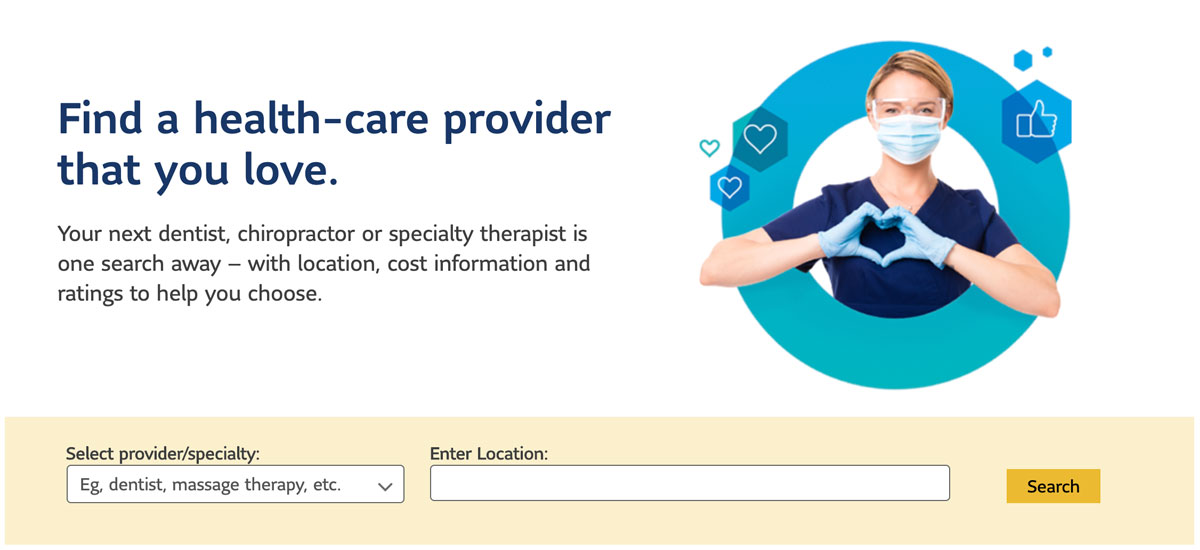 """Snippet of the Lumino Health website where employees can """"Find a health-care provider"""" by their required specialty and location. Includes a nurse making a heart with her hands."""