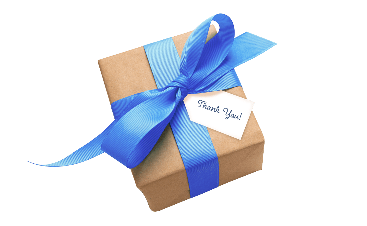 A gift box wrapped with blue ribbon and a thank you note to celebrate a work anniversary in your office.