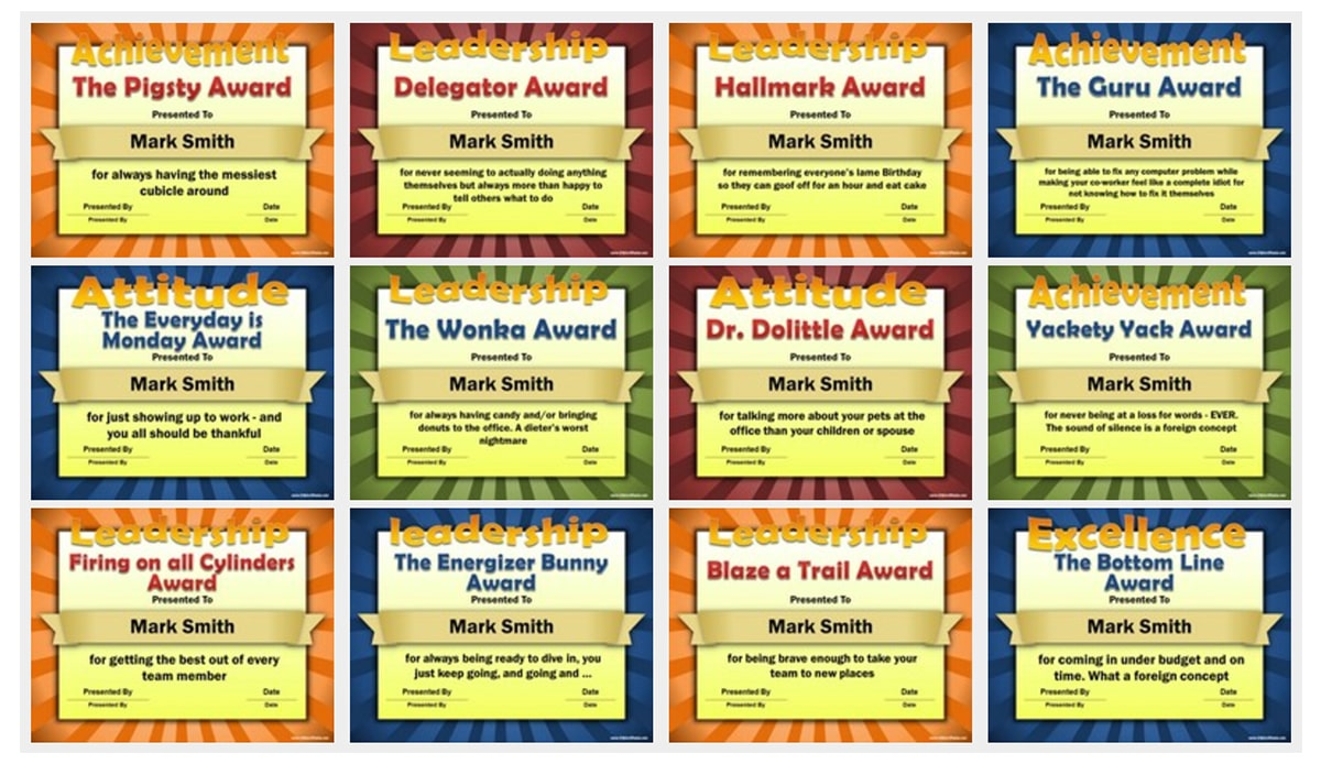 Fun awards you can give out at your office holiday party.