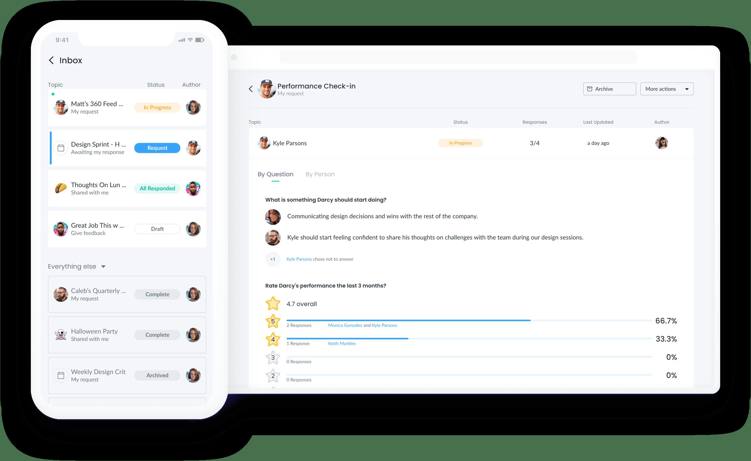 Fellow app interface helping facilitate a better employee feedback loop