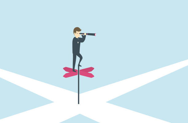 Illustrated crossroads with a man standing on the direction sign looking into a monocular
