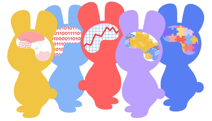 Five bunny silhouettes with different brains to show that office managers have to manage many people
