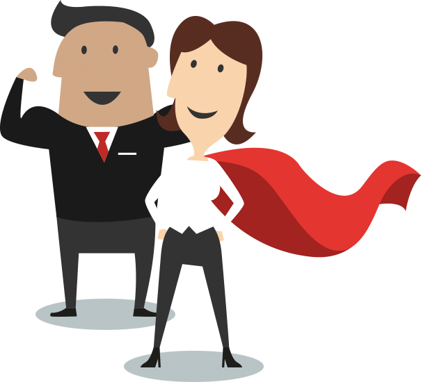 Business woman and man posing like heros with capes and arms flexed