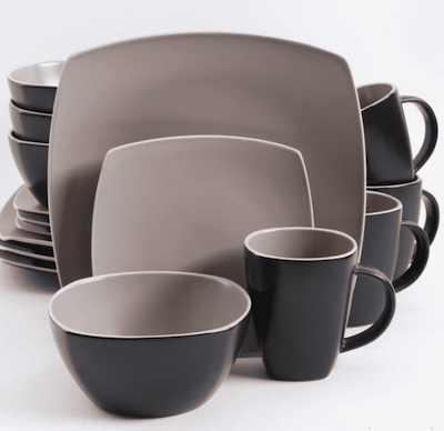 Set of dishes - bowl, cups and big plates for the office break room