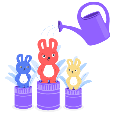 Three bunnies in plant pots being watered to show that employee appreciation fosters growth