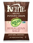 Bag of Kettle Brand Himalayan Salt Potato Chips Cooked in Avocado Oil