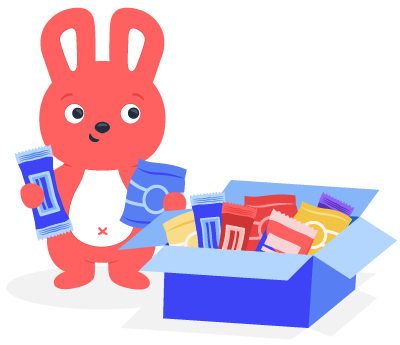 Hoppy bunny holding healthy office snacks with a box beside him to how employee appreciation
