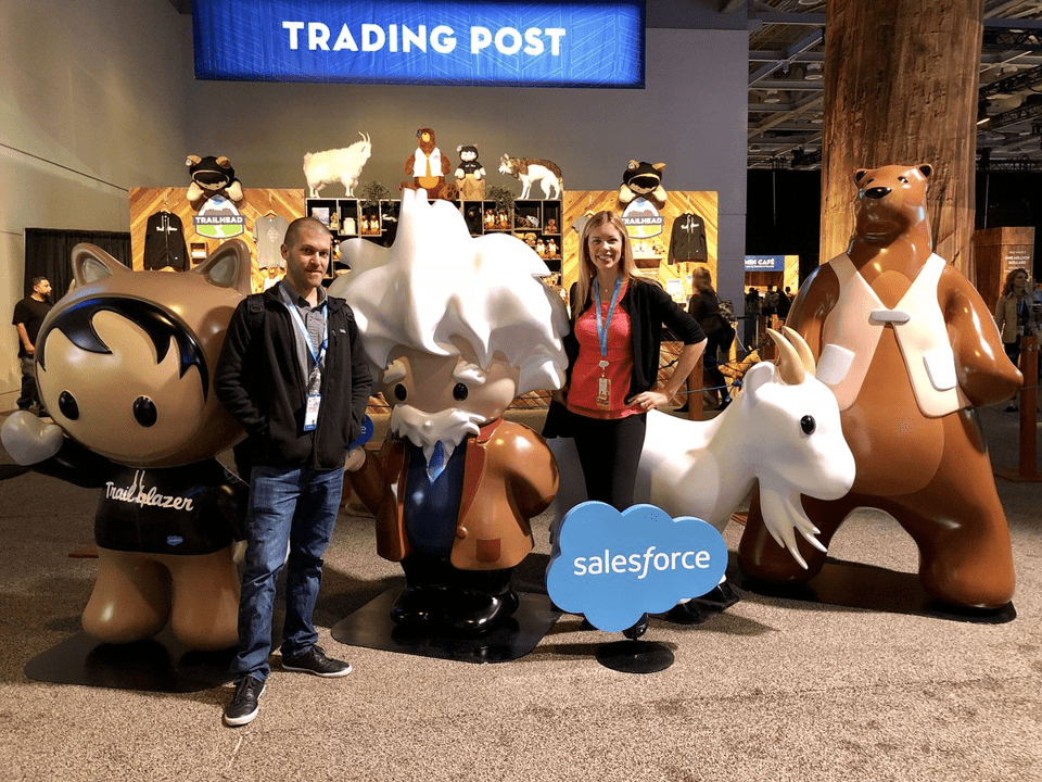 A photo of Dreamforce with event mascots Einstein, Codey, Cloudy, and Trailblazer