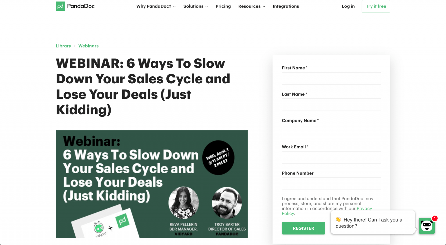 A screenshot of PandaDoc's webinar landing age that features a witty title