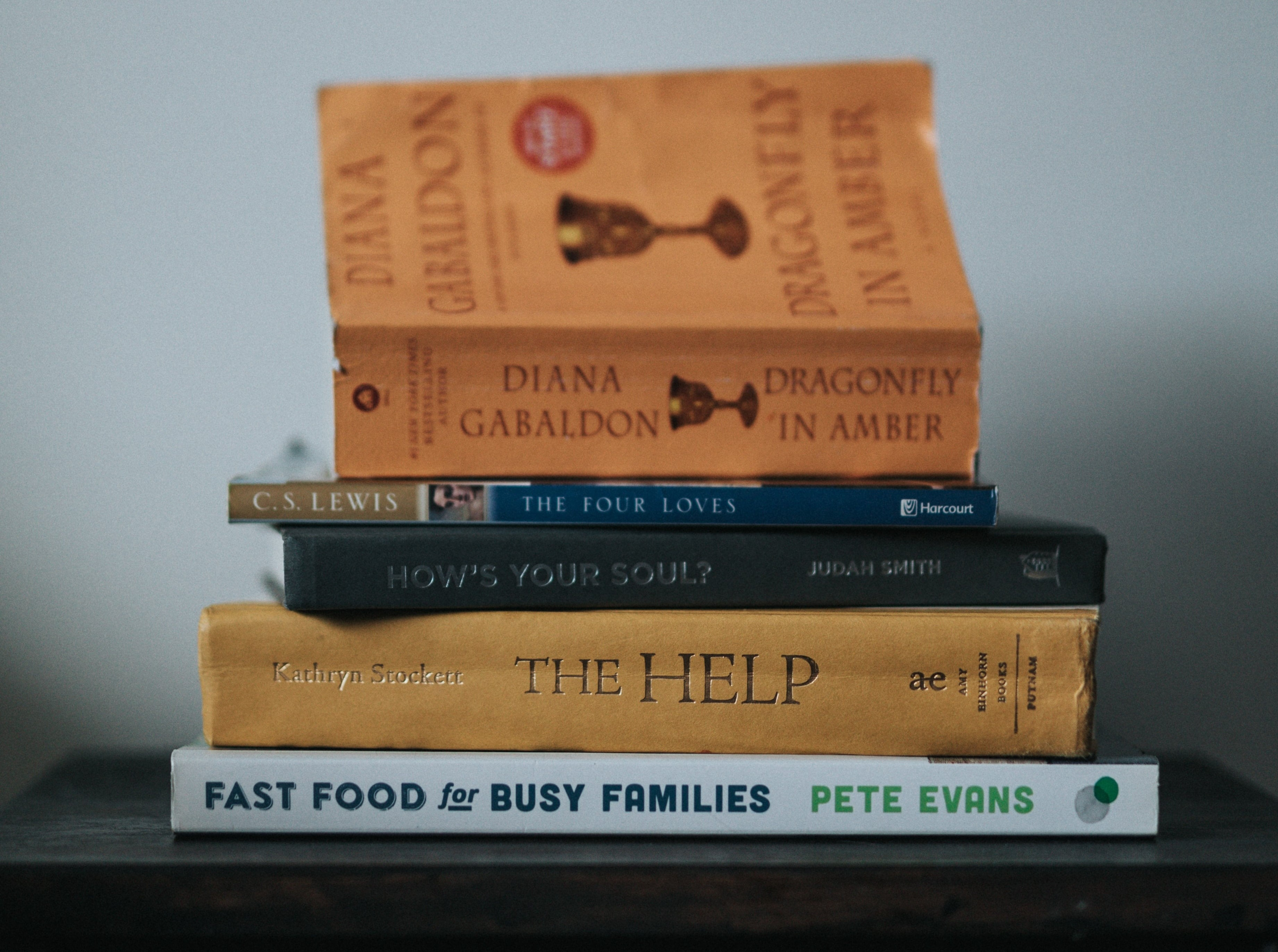 A photo of a pile of books stacked on a desk