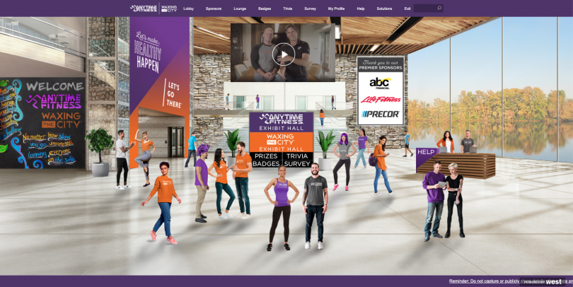 An image of a virtual event's lobby marked by sponsor spaces and advertising
