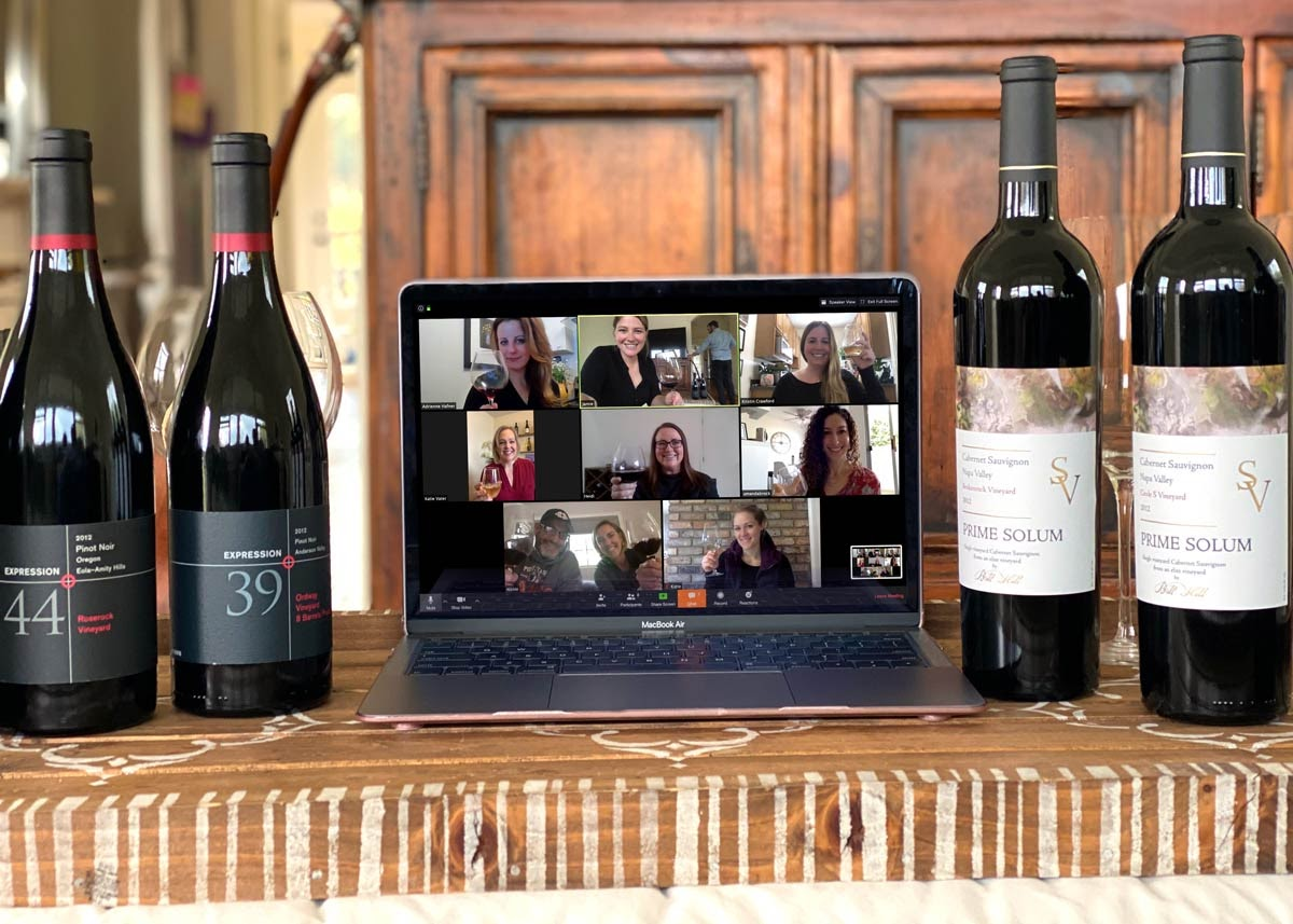 A photo of a virtual wine tasting session