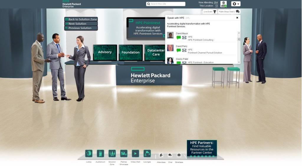 A screenshot of a virtual trade conference's networking event in action with digital avatars having conversations in real-time.