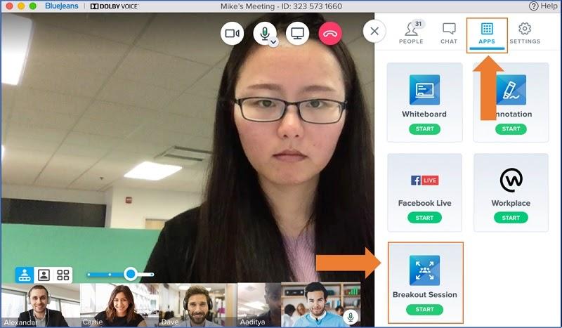 A screenshot of a virtual breakout room on an event platform