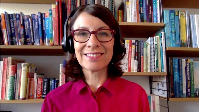 A screenshot of a moderator leading an internal sales meeting virtually