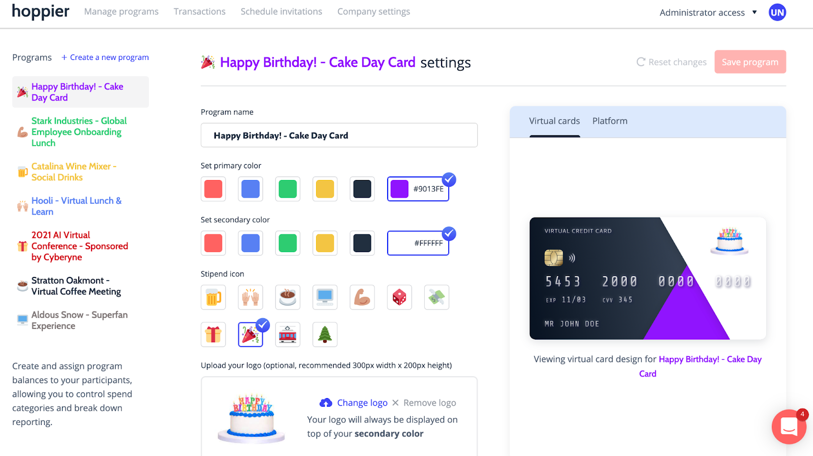 A screenshot of Hoppier's virtual credit card for birthday celebrations