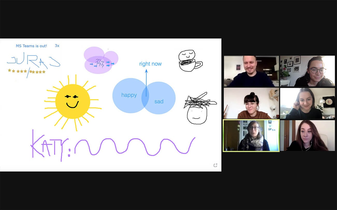 A screenshot of a virtual ice breaker session with participants sketching on a virtual whiteboard