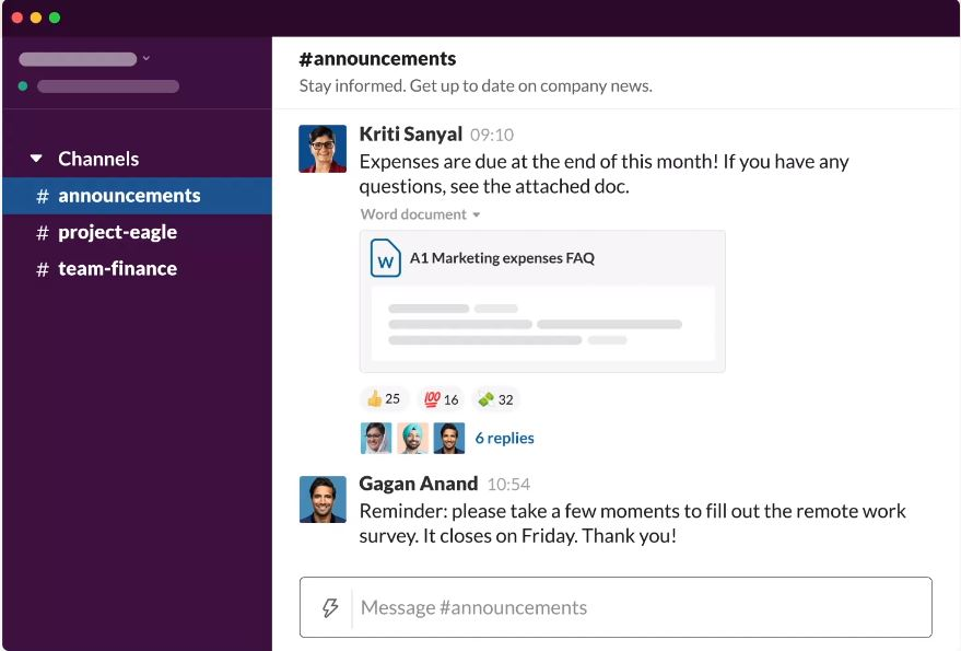 A screenshot of Slack's dedicated talk space (channel)
