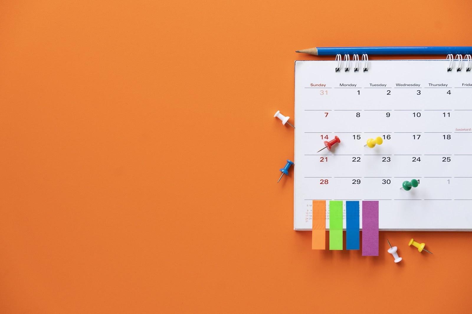 A calendar for planning a schedule