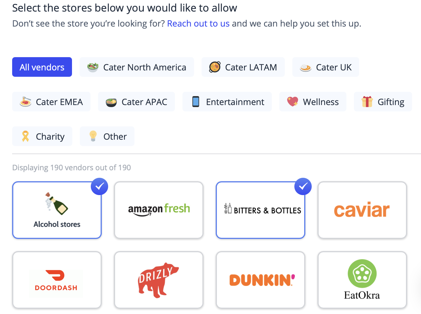 Virtual party vendors that guests can shop with using their virtual credit card