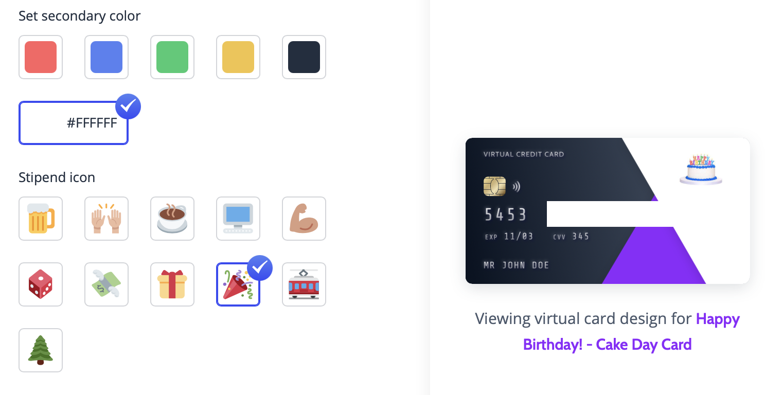 Virtual party credit card program to send guests food, drinks, and gifts