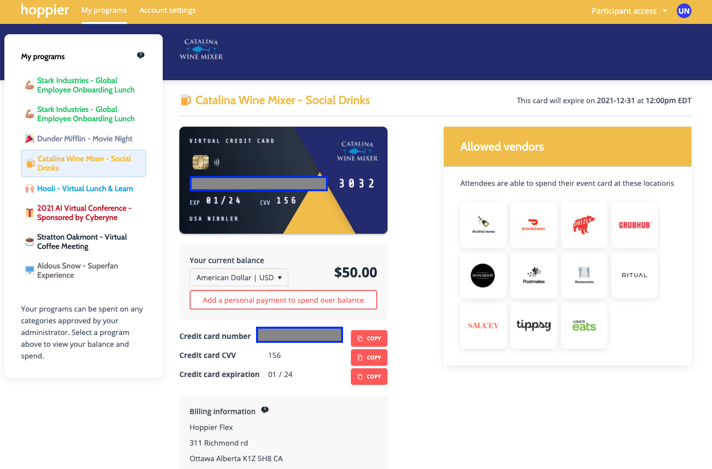 virtual happy hour credit cards for buying food and drinks