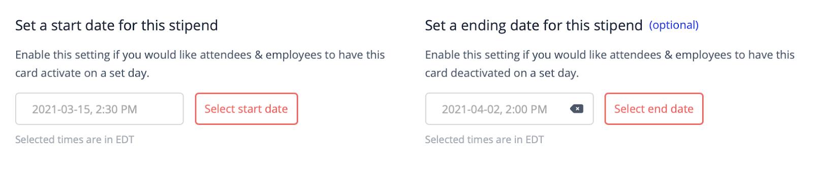 Program start and end dates for a Hoppier bulk gift card
