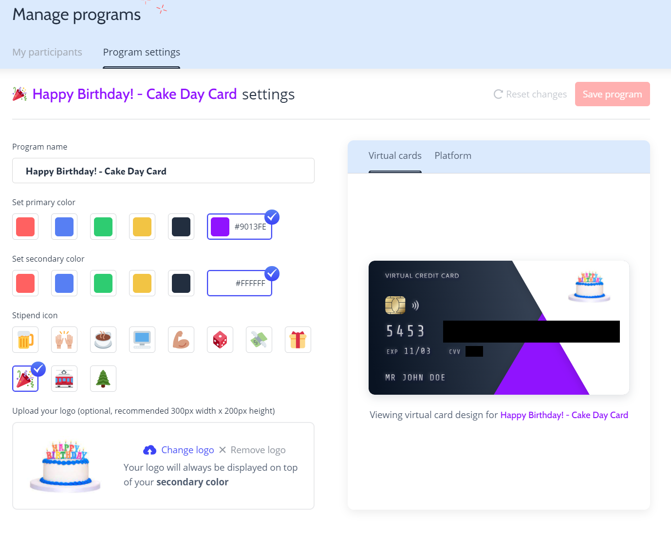 A branded virtual credit card for a corporate gift idea
