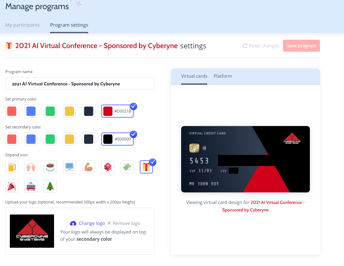 A branded virtual credit card that can be sent out to support your event experience