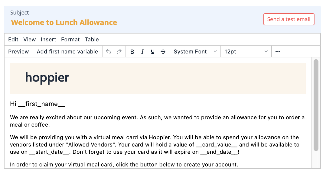 The Hoppier email template to send virtual credit cards to guests