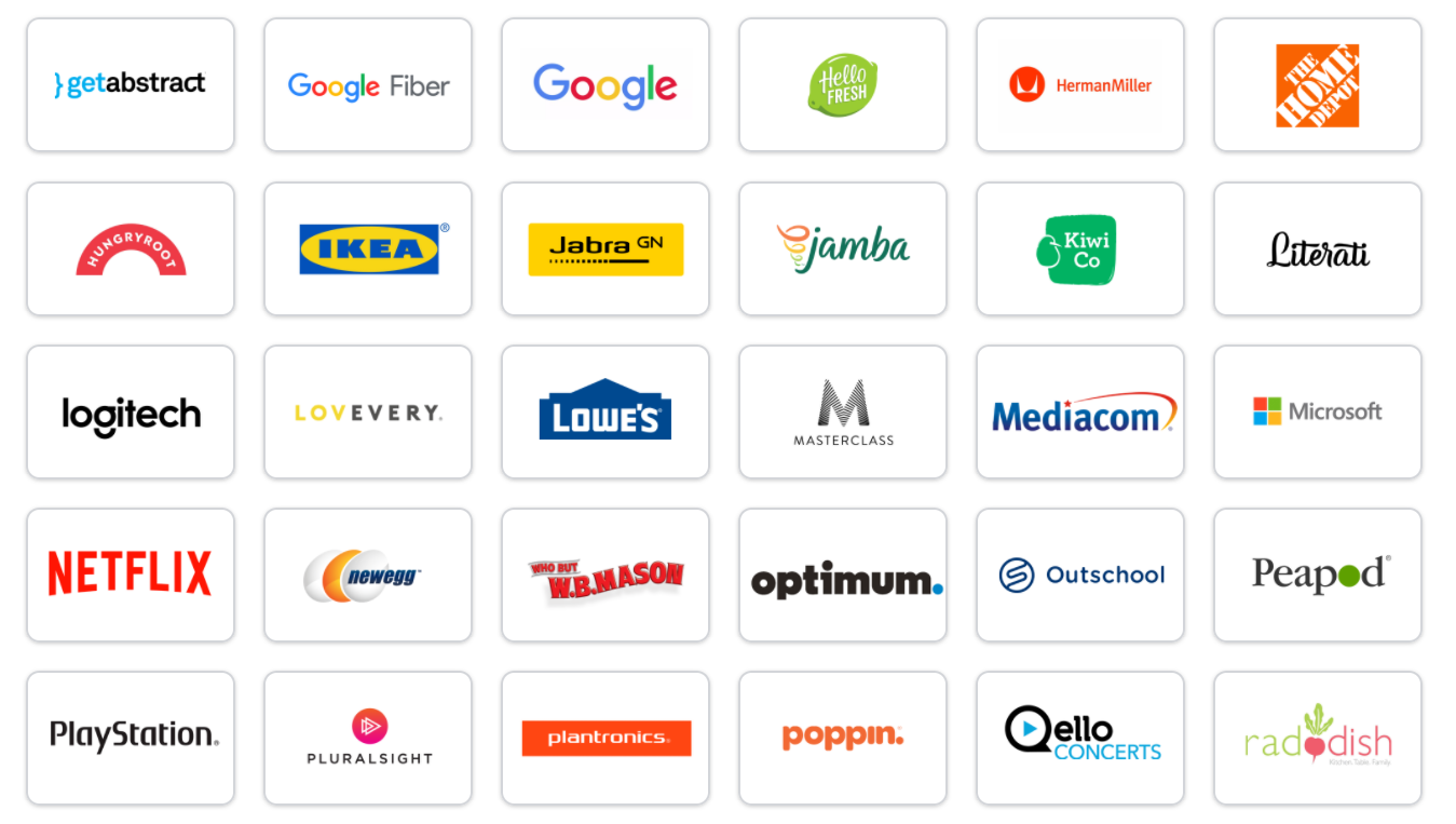 Different vendors that recipients can choose from when you use a virtual credit card for your corporate gift idea