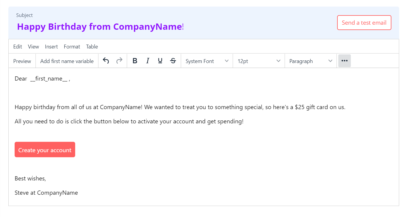 An email template that tells recipients about their corporate gift