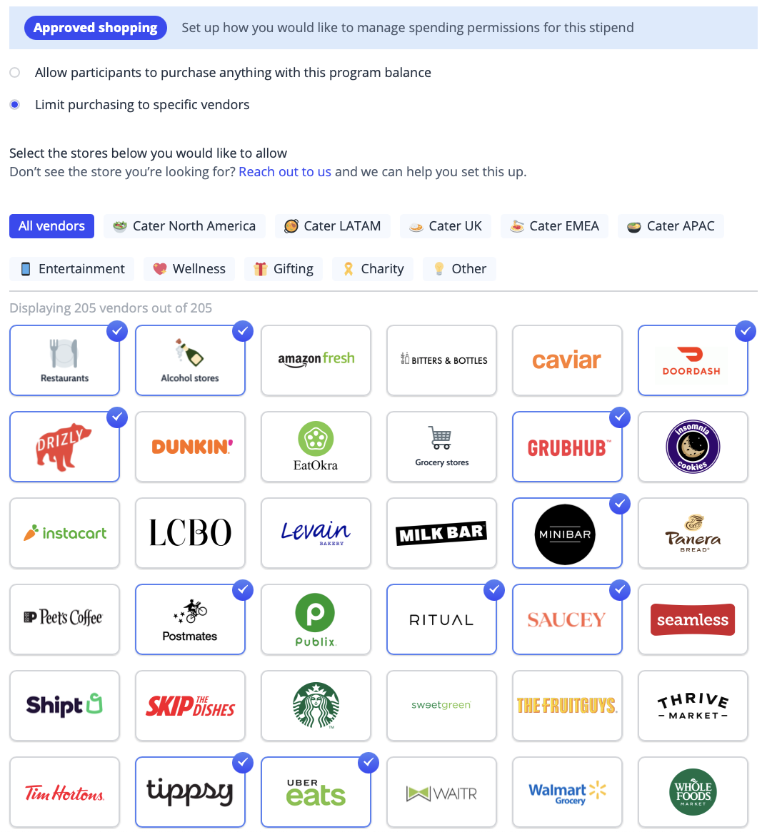 Approved vendors that guests can shop with using their virtual credit card