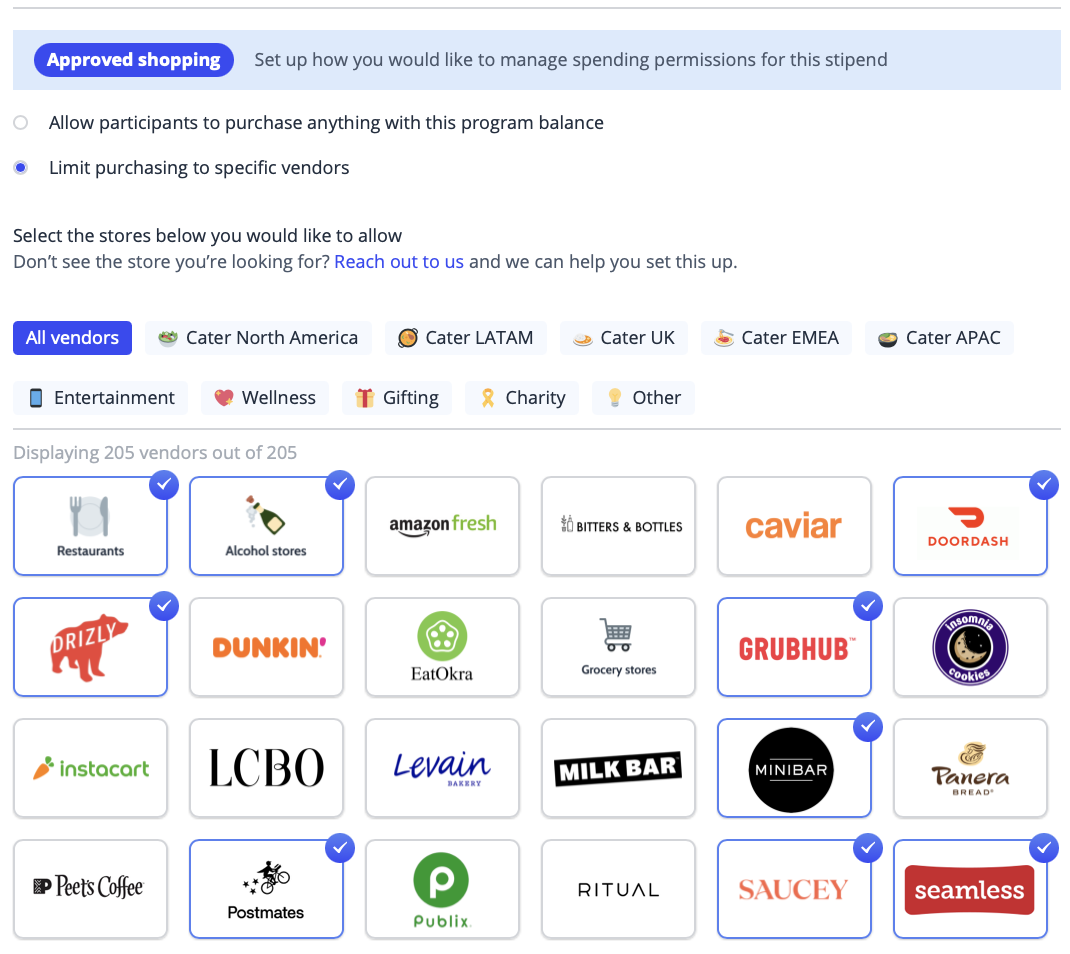 The interface of Hoppier's event technology platform that lets users select vendors for event engagement
